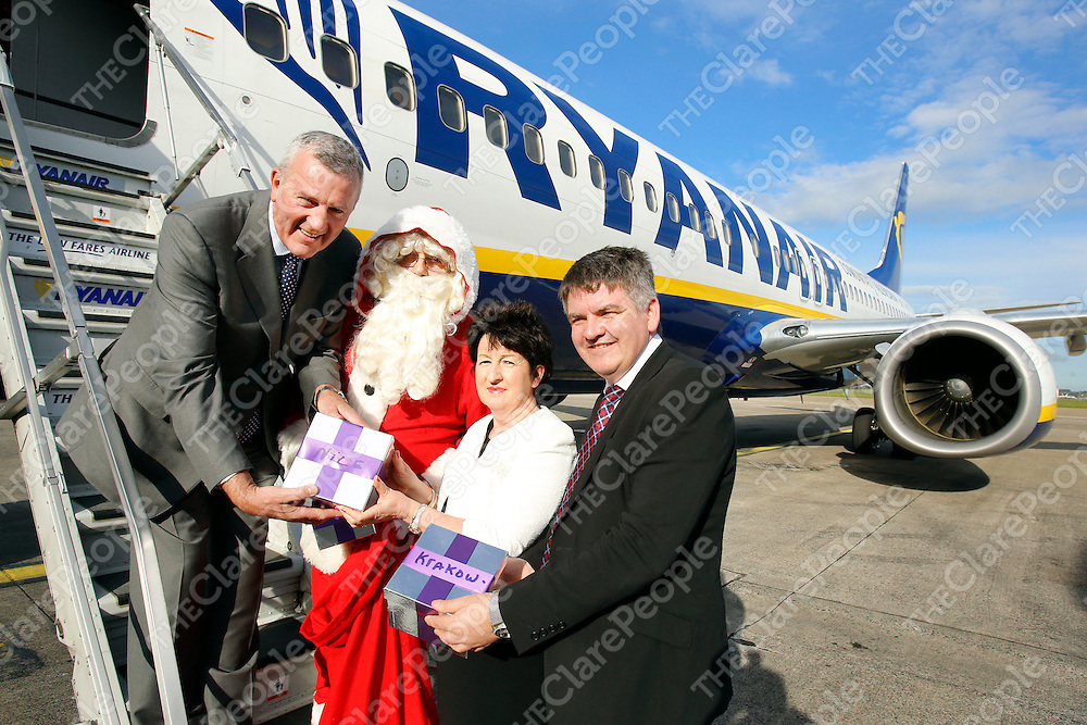 REPRO FREE<br /> 24/10/2013<br /> Christmas came early to Shannon Airport on Thursday as Ryanair Deputy Chief Executive &amp; Chief Operating Officer Michael Cawley gave the airport a major boost as Ryanair commits to 300,000 additional passengers on eight new routes. Pictured here with Shannon Group plc Chairman Rose Hynes and Shannon Group plc CEO Neil Pakey.<br /> PRESS RELEASE<br /> Shannon Airport growth plans get major boost as Ryanair commits to 300,000 additional passengers on eight new routes <br /> Shannon Airport has described today&Otilde;s announcement by Ryanair that it is to deliver over 300,000 new passengers annually with the addition of 8 new services as hugely significant in the growth plans of the independent airport.<br /> The Ryanair commitment, which will see the airline operate services to 18 locations from Shannon at the end of April 2014, confirms Shannon as a key catalyst of growth for the region, providing a major boost for both tourism and business interests.<br /> The new services that Ryanair will commence from next year are Berlin, Paris, Fuerteventura, Warsaw, Faro, Munich, Nice and Krakow, with an increase in frequency between Stanstead and Shannon.<br /> The announcement comes on top of an already successful initial ten months for the airport as an independent entity.  In that period Shannon has managed to grow month-over-month passengers for the first time in five years with significant increases across the summer season. <br /> Pic: Don Moloney / Press 22<br /> REPRO FREE<br /> 24/10/2013<br /> Christmas came early to Shannon Airport on Thursday as Ryanair Deputy Chief Executive &amp; Chief Operating Officer Michael Cawley gave the airport a major boost as Ryanair commits to 300,000 additional passengers on eight new routes. Pictured here with Shannon Group plc Chairman Rose Hynes and Shannon Group plc CEO Neil Pakey.<br /> PRESS RELEASE<br /> Shannon Airport growth plans get major boost as Ryanair commits to 300,000 additional p