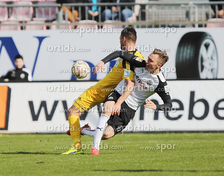 28.02.2015, Hardtwaldstadion, Sandhausen, GER, 2. FBL, SV Sandhausen vs VfR Aalen, 23. Runde, im Bild Orhan Ademi (VfR Aalen) im Zweikampf mit Florian Huebner (SV Sandhausen) // during the 2nd German Bundesliga 23rd round match between SV Sandhausen and VfR Aalen at the Hardtwaldstadion in Sandhausen, Germany on 2015/02/28. EXPA Pictures &copy; 2015, PhotoCredit: EXPA/ Eibner-Pressefoto/ Bermel<br /> <br /> *****ATTENTION - OUT of GER*****