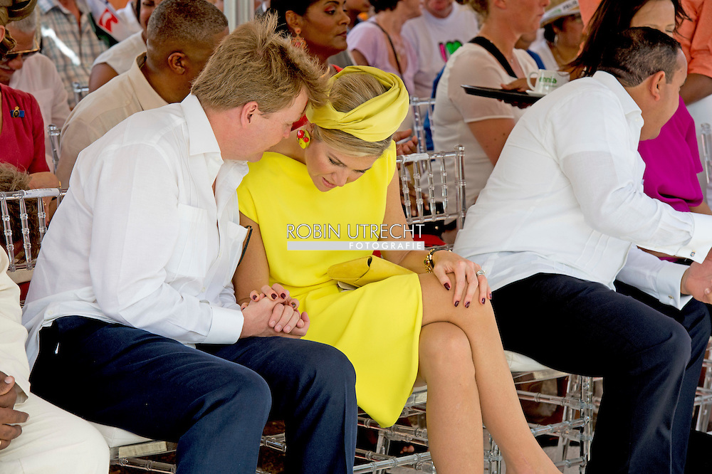 30-4-2015 BONAIRE - King Willem-Alexander and Queen Maxima of The Netherlands visits the Dia di Rincon at Bonaire, 30 April 2015. Dia di Rincon is an annual holiday in village Rincon with local cultural traditions. The king and queen visit the Plasa Commerce and attend the parade. COPYRIGHT Robin Utrecht