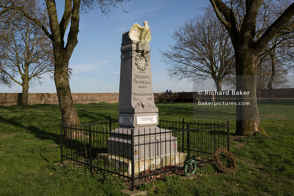 The battlefield memorial inside the walled Hougoumont Farm, to the soldiers of Napoleon's Grande Armee, killed at Waterloo, on 25th March 2017, at Waterloo, Belgium. The farm became an epicentre of fighting in the Battle as it was one of the first places where British and other allied forces faced Napoleon's Army. 12,000 allied troops defending 14,000 French. The Battle of Waterloo was fought on 18 June 1815. A French army under Napoleon Bonaparte was defeated by two of the armies of the Seventh Coalition: an Anglo-led Allied army under the command of the Duke of Wellington, and a Prussian army under the command of Gebhard Leberecht von Blücher, resulting in 41,000 casualties. The Battle of Waterloo was fought on 18 June 1815. A French army under Napoleon Bonaparte was defeated by two of the armies of the Seventh Coalition: an Anglo-led Allied army under the command of the Duke of Wellington, and a Prussian army under the command of Gebhard Leberecht von Blücher, resulting in 41,000 casualties.