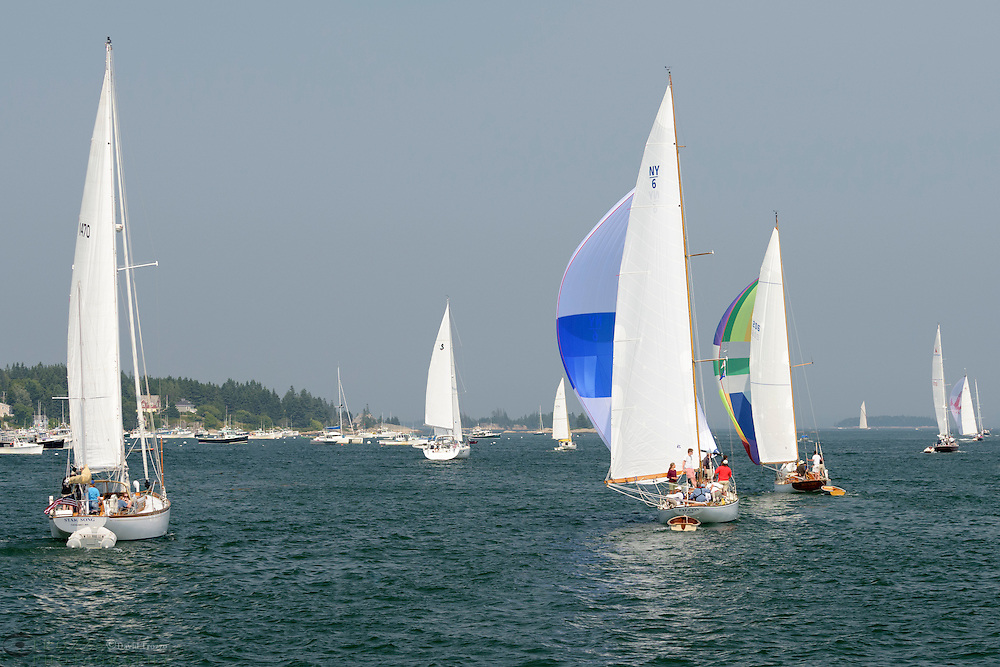 Sailboats race through Stonington Maine, USA.