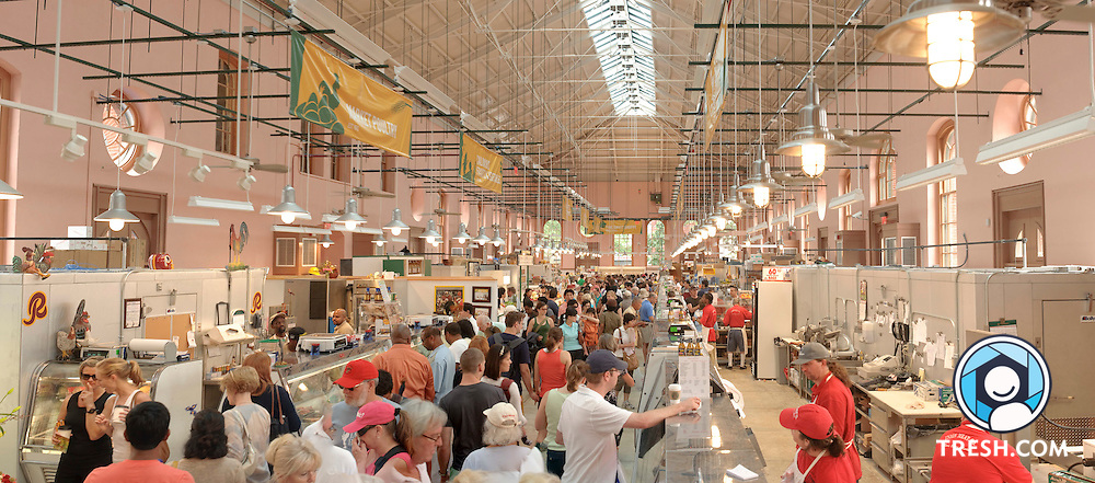 A composite image of the interior of Eastern Market on the weekend of its grand reopening, Sunday June 28, 2009, in Washington, D.C..