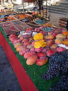 Rennes, FRANCE, Rennes,  Fresh Mangos, Black Grapes on display at the Saturday Morning Market, Brittany.  Saturday  26/09/2009   [Mandatory Credit Peter Spurrier Intersport Images] Street Photo.