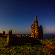 The Wheal Owles engine house sits atop the cliffs of Botallack, near St Just. This fine example of a Cornish engine house has a dark history.<br /> <br /> On January 10th 1893 miners working underground at 65 fathoms below the sea accidentally broke though to the abandoned neigbouring mine workings of Wheal Drea. This resulted in the water rushing in and 19 men and a boy drowning.<br /> <br /> It is said the rush of water was preceded by a strong gust of air which blew out all the lights plunging the miners into darkness. Truly terrifying stuff.<br /> <br /> No bodies were ever recovered and the mine never reopened.<br /> <br /> On a brighter note this well preserved engine house in its dramatic loaction was used in the recent TV adaptation of Poldark where it featured as Wheal Leisure.