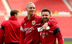 Matty Taylor of Bristol City and Hordur Magnusson of Bristol City - Mandatory by-line: Robbie Stephenson/JMP - 28/10/2017 - FOOTBALL - Stadium of Light - Sunderland, England - Sunderland v Bristol City - Sky Bet Championship