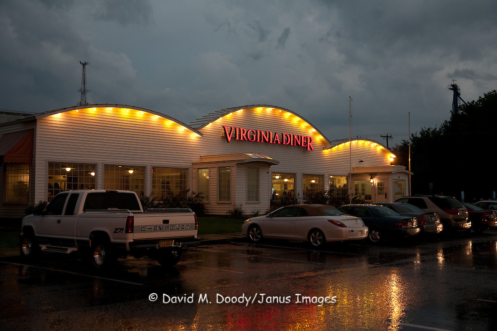 The Virginia Diner, Wakefield, Virginia during summer rain at dusk. Route 460 South of the James.