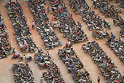 A parking lot houses thousands of motorbikes in Ho Chi Minh City, Vietnam.  Established parking areas are recent developments and only present in southern Vietnam.  Photo by Stan Olszewski/SOSKIphoto