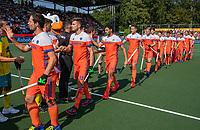 AMSTELVEEN - Edward Ockenden (Austr.)  en Sander Baart (Ned) , Sander de Wijn (Ned)   voor  de Pro League hockeywedstrijd heren, Nederland-Australie .  De wedstrijd begint twee uur later. COPYRIGHT  KOEN SUYK