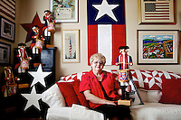 Marge Lee's collection of red, white and blue memorabilia in a room of her Coeur d'Alene home is featured in the July issue of Country Sampler magazine.
