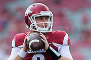 FAYETTEVILLE, AR - SEPTEMBER 5:  Austin Allen #8 of the Arkansas Razorbacks warms up before a game against the UTEP Miners at Razorback Stadium on September 5, 2015 in Fayetteville, Arkansas.  The Razorbacks defeated the Miners 48-13.  (Photo by Wesley Hitt/Getty Images) *** Local Caption *** Austin Allen