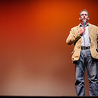010414       Cable Hoover<br /> <br /> Filmmaker David DeJonge introduces his film &quot;Pershing's Last Patriot&quot; to the audience during the WWI film festival at El Morro Theater Saturday.