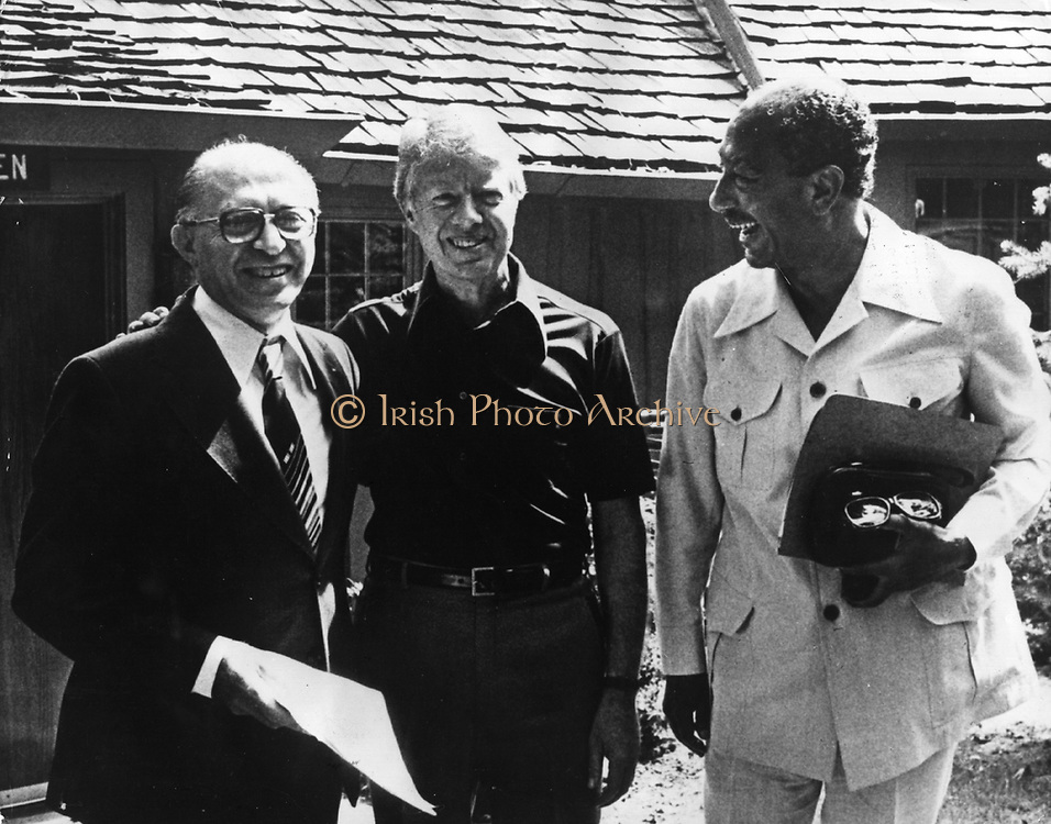 The Camp David Accords were signed by Egyptian President Anwar El Sadat and Israeli Prime Minister Menachem Begin on September 17, 1978, following thirteen days of secret negotiations at Camp David. US President Carter with Sadat and Begin at Camp David