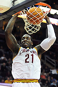 Feb. 2, 2011; Cleveland, OH, USA; Cleveland Cavaliers power forward J.J. Hickson (21) dunks during the second quarter against the Indiana Pacers at Quicken Loans Arena. Mandatory Credit: Jason Miller-US PRESSWIRE