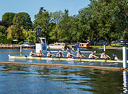 Henley on Thames, England, United Kingdom, 4th July 2019, Henley Royal Regatta, Temple Challenge Trophy, Northeastern University B,  pass  the one mile and one eight barrier,  Henley Reach, [© Peter SPURRIER/Intersport Image]<br /> <br /> 10:40:33 1919 - 2019, Royal Henley Peace Regatta Centenary,