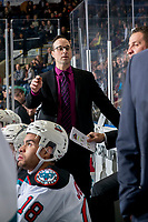 KELOWNA, BC - JANUARY 3: Kelowna Rockets' assistant coach Kris Mallette stands on the bench against the Victoria Royals  at Prospera Place on January 3, 2020 in Kelowna, Canada. (Photo by Marissa Baecker/Shoot the Breeze)