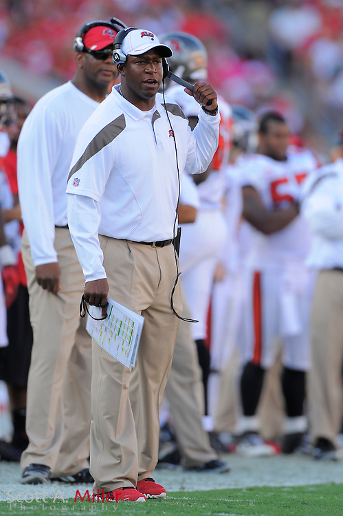 Tampa Bay Buccaneers head coach Raheem Morris during the Bucs game against the New Orleans Saints at Raymond James Stadium on Oct. 16, 2011 in Tampa, Fla...©2011 Scott A. Miller