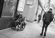 2017 MARCH 05 - Homeless man on Pine St, downtown, Seattle, WA, USA. By Richard Walker