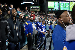 The field bleachers provide a great vantage point to watch the game.<br /> <br /> Football players of PIAA AAA State champions Imhotep Panthers and Pop Warner Midget Div. I National Champions NW Raiders got invited to see the December 26, 2015 NFC East Division game between Washington Redskins and Philadelphia Eagles at Lincoln Financial. 9photo by Bastiaan Slabbers)