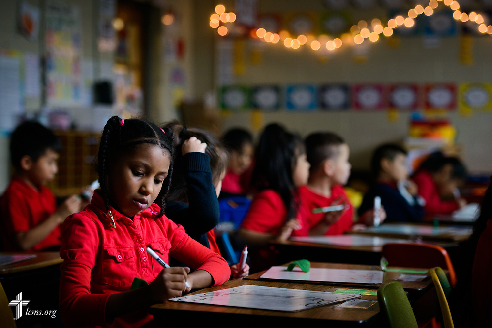 A student in Carly Gleason's first grade class completes an activity at St. Martini Lutheran School on Tuesday, Nov. 14, 2017, in Milwaukee. LCMS Communications/Erik M. Lunsford