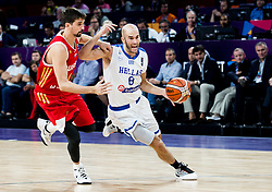 Aleksei Shved of Russia vs Nick Calathes of Greece during basketball match between National Teams of Greece and Russia at Day 14 in Round of 16 of the FIBA EuroBasket 2017 at Sinan Erdem Dome in Istanbul, Turkey on September 13, 2017. Photo by Vid Ponikvar / Sportida