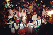 MEXICO, OAXACA STATE, FESTIVALS Oaxaca; Dec 24, Christmas Eve procession around the Z�calo with floats and children as angels and shepherds