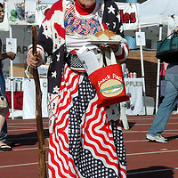 Carol Purcell, 84, dressed-up in her red, white and blue, gets some food  during the 25th Annual Celebrate America on Saturday, June 30, 2007 at Santa Monica College.