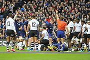 Messy first try for Scotland by Allan Dell during the 2018 Autumn Test match between Scotland and Fiji at Murrayfield, Edinburgh, Scotland on 10 November 2018.