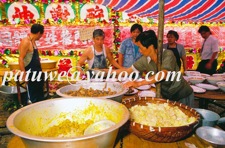 Vegetarian food were distributed in Tinhau festival, Tapmun island, Hong Kong, china