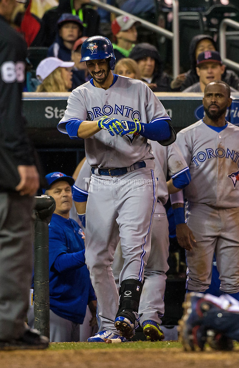 MINNEAPOLIS, MN- MAY 29: Chris Colabello #15 of the Toronto Blue Jays celebrates his home run against the Minnesota Twins on May 29, 2015 at Target Field in Minneapolis, Minnesota. The Blue Jays defeated the Twins 6-4. (Photo by Brace Hemmelgarn) *** Local Caption *** Chris Colabello
