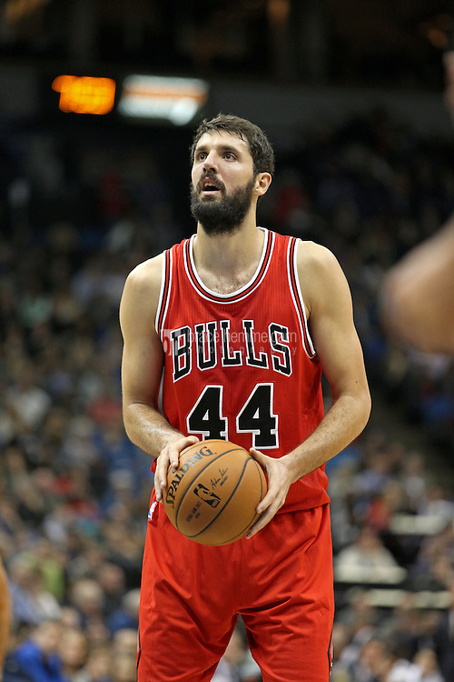Nov 1, 2014; Minneapolis, MN, USA; Chicago Bulls forward Nikola Mirotic (44) against the Minnesota Timberwolves at Target Center. The Bulls defeated the Timberwolves 106-105. Mandatory Credit: Brace Hemmelgarn-USA TODAY Sports