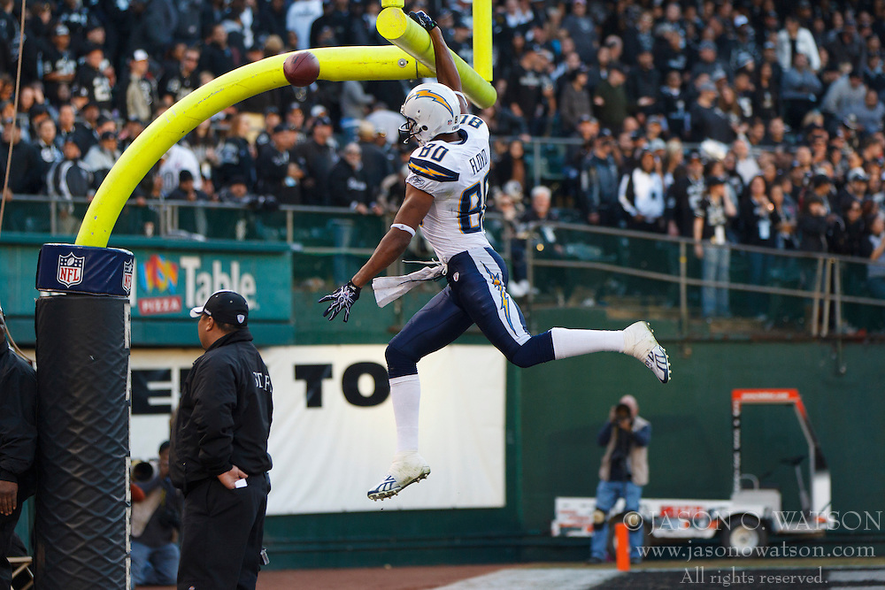 Jan 1, 2012; Oakland, CA, USA; San Diego Chargers wide receiver Malcom Floyd (80) celebrates after scoring a touchdown against the Oakland Raiders during the fourth quarter at O.co Coliseum. San Diego defeated Oakland 38-26. Mandatory Credit: Jason O. Watson-US PRESSWIRE