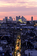 France. Paris. elevated view.  Panoramic view of paris saint louis island and the seine river. at sunset