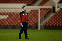NOTTINGHAM, ENGLAND - Thursday, February 4, 2016: Liverpool's Liam Coyle on the pitch before of the FA Youth Cup 5th Round match against Nottingham Forest at the City Ground. (Pic by David Rawcliffe/Propaganda)