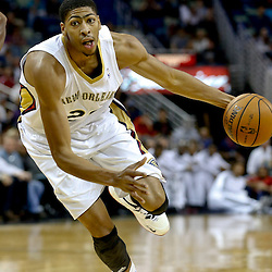 Oct 23, 2013; New Orleans, LA, USA; New Orleans Pelicans power forward Anthony Davis (23) against the Miami Heat during the first half of a preseason game at New Orleans Arena. Mandatory Credit: Derick E. Hingle-USA TODAY Sports
