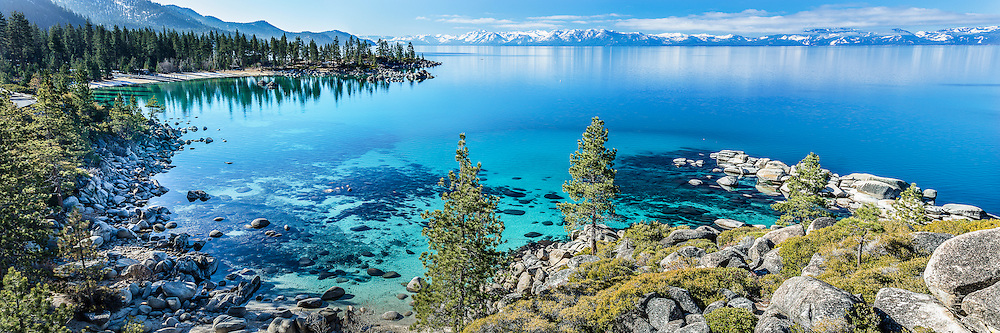 The classic photo of Sand Harbor at Lake Tahoe. Classic, yes, but easy to get perfect? Not necessarily. It has to be taken in the spring for there to be snow on the mountains. The surface of the lake must be glass and the time of day must be jsut right.