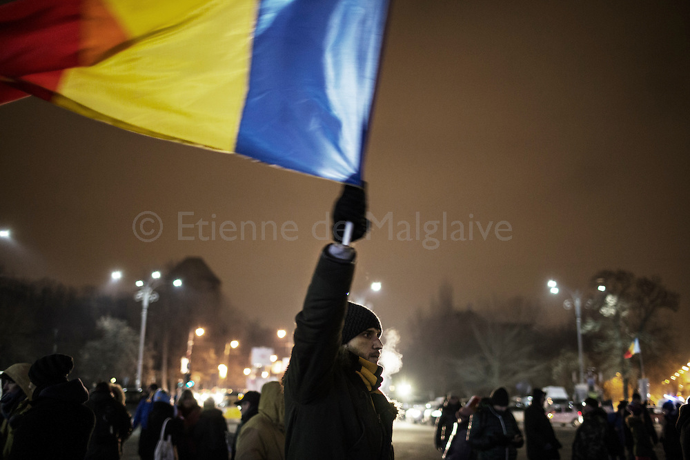 Protesters gathered in front of the government headquarters at the Victory square are now demanding resignation of PM Sorin Grindeanu. 13 February 2017.