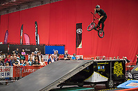 The Cycling Show at The Excel Centre opened today it is part of the Prudential RideLondon Festival in London.<br /> Stunt performers from the Action Sports Tour show.<br /> <br /> Photo: Jed Leicester/Silverhub for Prudential RideLondon<br /> <br /> Prudential RideLondon is the world's greatest festival of cycling, involving over 100,000+ cyclists – from Olympic champions to a free family fun ride - riding in events over closed roads in London and Surrey over the weekend of 28th to 30th July 2017. <br /> <br /> See www.PrudentialRideLondon.co.uk for more.<br /> <br /> For further information: media@londonmarathonevents.co.uk