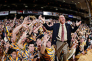 NASHVILLE, TN - FEBRUARY 11: ESPN television analyst Dick Vitale gets Vanderbilt Commodores fans in the student section pumped up before the game against the Kentucky Wildcats at Memorial Gymnasium on February 11, 2012 in Nashville, Tennessee. Kentucky won 69-63. (Photo by Joe Robbins/Getty Images) *** Local Caption *** Dick Vitale