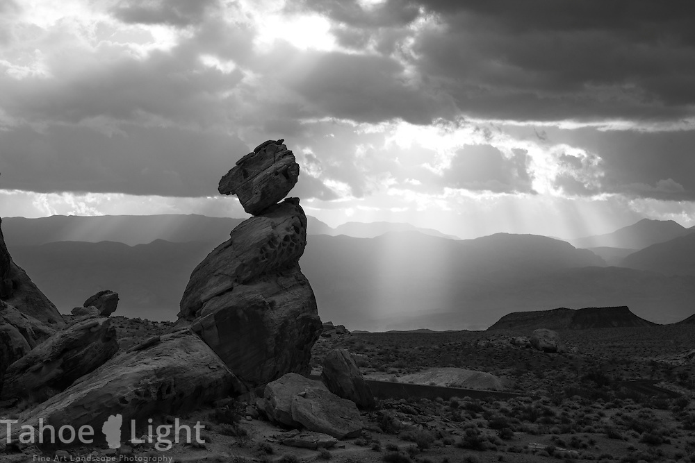 Morning storm light on the balancing rock, one of the many features of the unique landscape of Valley of Fire state park in Southern Nevada about 2 hours outside of Las Vegas.