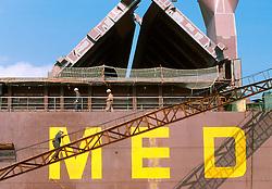 CHINA SHANGHAI NOV01 - Shipyard workers board bulk freighter moored at Shanghai shipyards.. . jre/Photo by Jiri Rezac. . © Jiri Rezac 2001. . Contact: +44 (0) 7050 110 417. Mobile:  +44 (0) 7801 337 683. Office:  +44 (0) 20 8968 9635. . Email:   jiri@jirirezac.com. Web:     www.jirirezac.com