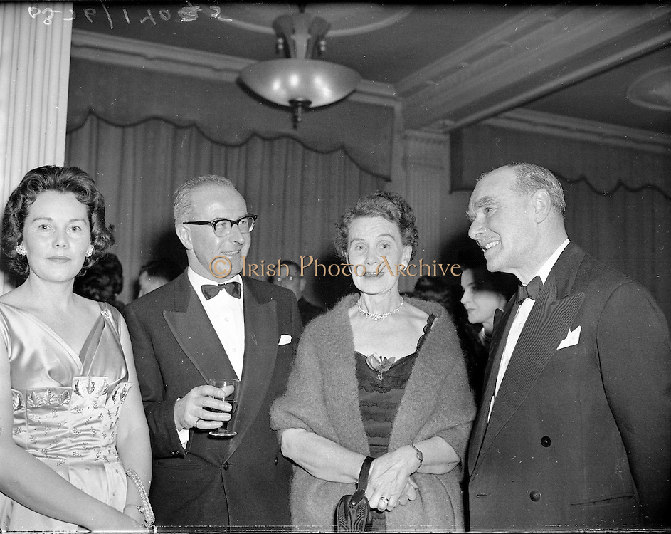 Lincoln and Nolan 9th Annual Dance..1960..15.01.1960..01.15.1960..15th January 1960..The annual Christmas/New Year dance for the staff and management of Lincoln and Nolan took place in the Metropole Hotel in Dublin...Image shows staff and management enjoying their night out in the ballroom of the Metropole Hotel.
