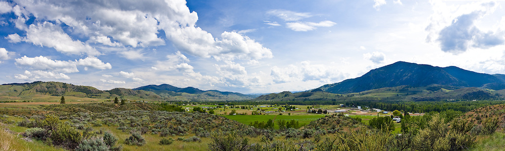 Panorama just outside of the town of Twisp in the Methow Valley of Washington State, USA