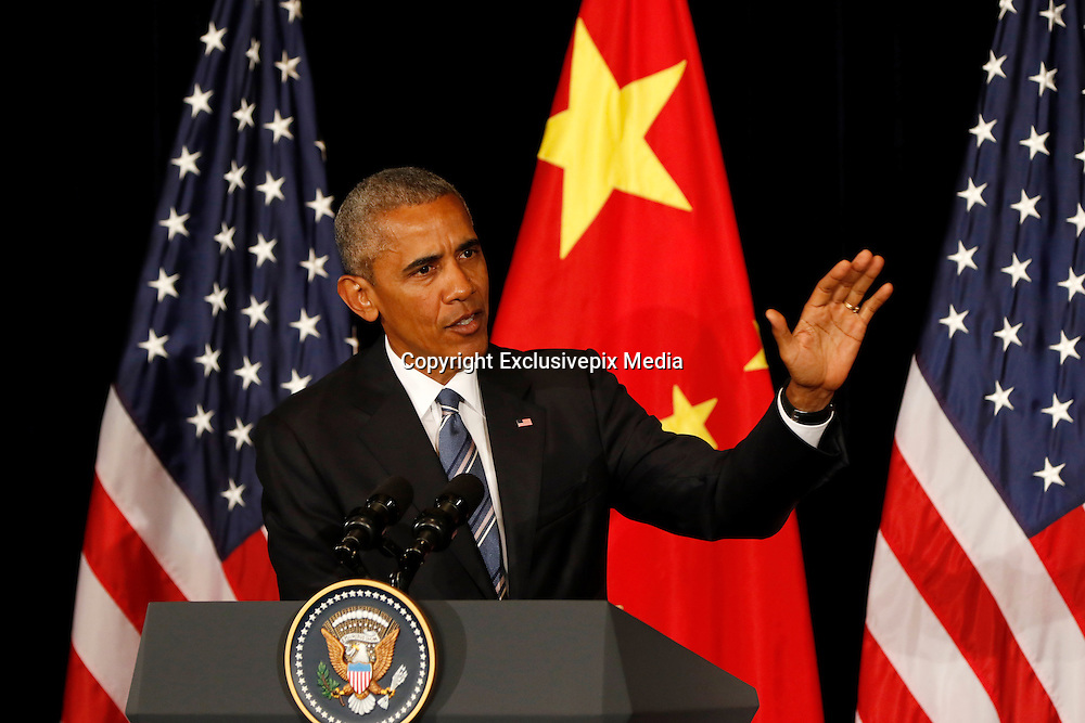 HANGZHOU, CHINA - SEPTEMBER 05: <br /> <br /> US President Barack Obama speaks during a press conference at JW Marriott Hotel after the end of the Group of 20 (G-20) summit on September 5, 2016 in Hangzhou, China. World leaders are gathering in Hangzhou for the 11th G20 Leaders Summit from September 4 to 5. ©Exclusivepix Media