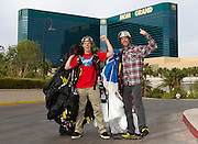 From right, Travis Pastrana is seen with Erik Roner after base jumping off The Signature at the MGM Grand Hotel & Casino on Wednesday June 1, 2011 in Las Vegas to promote the North American debut of Nitro Circus Live at the MGM Grand Garden Arena on Saturday June 4, 2011. (Jeff Bottari/AP Images for Nitro Circus Live)
