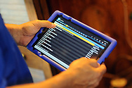 Home inspector Frank Castiglione of Real Estate Inspections, types information onto a tablet as he looks at a home for possible problems Thursday, September 28, 2017 in Plymouth Meeting, Pennsylvania. (WILLIAM THOMAS CAIN / For The Philadelphia Inquirer)