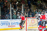 KELOWNA, CANADA - OCTOBER 11: Justin Kirkland #23 of Kelowna Rockets scores the fourth goal against the Lethbridge Hurricanes on October 11, 2014 at Prospera Place in Kelowna, British Columbia, Canada.   (Photo by Marissa Baecker/Shoot the Breeze)  *** Local Caption *** Justin Kirkland;