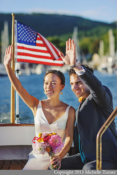 Camden Yacht Club Wedding with a Camden Amphitheater Wedding Ceremony.  Design and coordination by Maine Seasons Events.  Photography by Maine Wedding Photographer Michelle Turner.