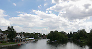 "Maidenhead, ENGLAND   Maidenhead Town Regatta, River Thames. General View, from  Maidenhead Bridge at crews boating from the rowing club and moving up the course under the ""souding Arch"" to compete in the regatta  16:59:50  Saturday  08/08/2015   [Mandatory Credit. Peter SPURRIER/ Intersport Images."