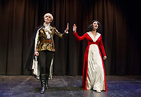 "Lindsey Bristol as the ""Prince"" and Kelley Davies as ""Snow White"" at the Winnipesaukee Playhouse during dress rehearsal on Tuesday afternoon.  (Karen Bobotas/for the Laconia Daily Sun)"