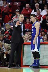 26 January 2016: Ray Giacoletti gives some instructions to Reed Timmer(12) during the Illinois State Redbirds v Drake Bulldogs at Redbird Arena in Normal Illinois (Photo by Alan Look)